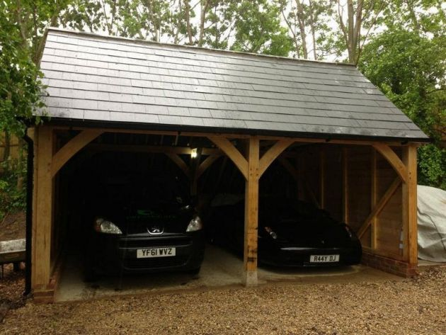 Traditional Oak Framed 2 Bay Carport Dreamscape